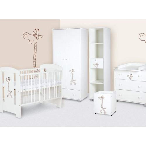 Klups detská izba SAFARI ŽIRAFKA biela - matrac a podložka ZADARMO